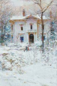 "So think I need this as a gift!!! Richard Schmid ""Victorian Winter""    landscape art on canvas"