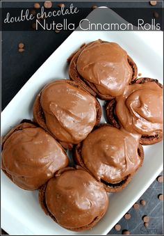 Double Chocolate Nutella Cinnamon Rolls are the best treat ever made. A chocolate sweet roll with a Nutella cinnamon center and fudgey chocolate frosting. Mini Desserts, Just Desserts, Delicious Desserts, Dessert Recipes, Yummy Food, Brunch Recipes, Oreo Dessert, Happiness Is Homemade, Brownies
