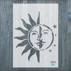 Sun Moon STENCIL for home wall interior design decor / large