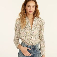 J.Crew: Puff-sleeve Top In Liberty® Tapestry Floral For Women