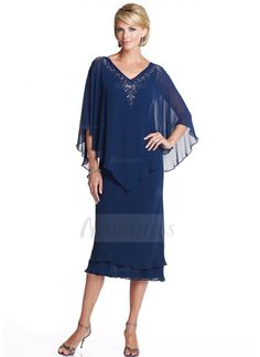 Sheath/Column V-neck Tea-Length Beading Chiffon Zipper Up Sleeves 3/4 Sleeves No 2014 Champagne Summer Fall General Plus Mother of the Bride Dress