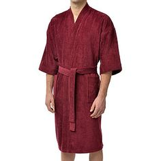 "100% cotton terry velour 48"" kimono robe with 3/4 sleeves. Champion in its category this kimono terry velvet weighs 360 grams. The belt has adjustable buckles for a perfect fit and two full pockets."