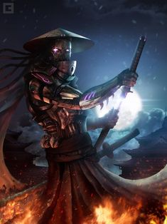 Mech Samurai by BillCreative on DeviantArt Arte Ninja, Ninja Art, Arte Robot, Dark Fantasy Art, Fantasy Rpg, Robot Samurai, Samurai Warrior, Arte Cyberpunk, Samurai Wallpaper