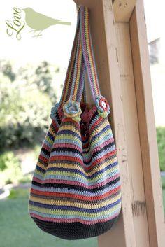 Crochet bag... love the flowers