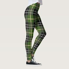 Patrick's Day Green Plaid Leggings created by LennyCatStudios. Personalize it with photos & text or purchase as is!