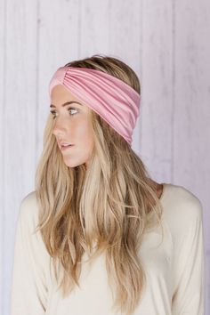 Turband Headband Wide Head Wraps Sparrow Headband in Pastel Pink Stretchy Jersey Hair Band Ruched with Fabric Wrap(TBN-SPARROW-PINK)