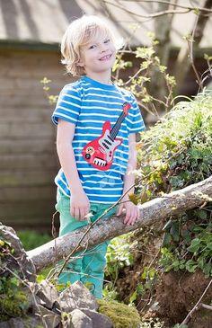 Jungen Kurzarm Shirt Streifen Guitar Frugi | Heldenkind