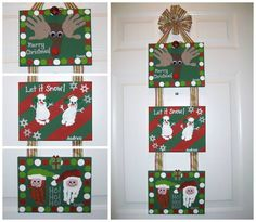 HAND/FOOTPRINT CHRISTMAS WALL HANGING...on Canvas! Love this idea...so cute! https://www.pinterest.com/apples4theteach/christmas-fun-thematic-unit-christmas-fun-unit-of-/