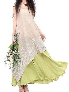 Vintage Embroidery Layered Irregular Hem Elegant Patchwork Women Dress Shopping Online - NewChic Mobile.