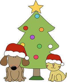 Christmas dog and cat with Christmas tree. There are more Christmas cat and dog clip art images at MyCuteGraphics. :)