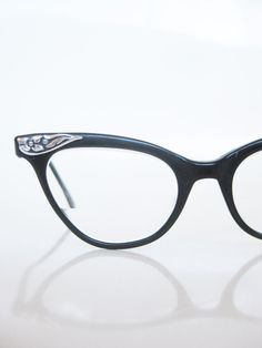 Liberty Cat Eye Glasses 1950s Black Silver Floral Rockabilly Vintage Chic 50s Mid Century Modern Midnight Dark Metallic Fifties Indie