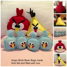 Angry Birds Bean Bags made from felt and filled with rice.  Great party game with some big boxes.
