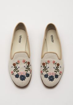 - The Cactus flower loafer by Sylvester features embroidered detailing in our exclusive Sylvester print, contrast piping and a stacked wooden sole. - Canvas, Co Cactus Flower, Moccasins, Espadrilles, Ivory, Loafers, Flats, My Style, How To Wear, Accessories