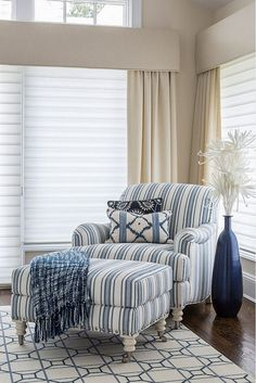 Bedroom with Blue striped chair. Kim E Courtney Interiors & Design Inc. Home Living Room, Living Room Decor, Striped Chair, Cozy Chair, Luxury Interior Design, White Decor, Luxury Homes, Home Furniture, Family Room