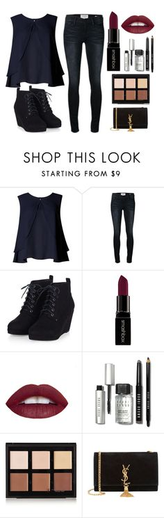 """""""Go for It in Midnight Blue"""" by jadethirlwall92 ❤ liked on Polyvore featuring Limited Edition, Frame Denim, Smashbox, Bobbi Brown Cosmetics, Anastasia Beverly Hills, Yves Saint Laurent, women's clothing, women, female and woman"""