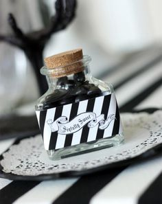 Black and white sophistictated old movie halloween party idea via Kara's Party Ideas - www.KarasPartyIdeas.com