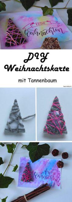 DIY Anleitung: Mach deine Weihnachtskarte selber und verschenke Freude zur Adventszeit! Diese einfache Weihnachtskarte hat einen mit Wolle umwickelten Tannenbaum als Highlight.