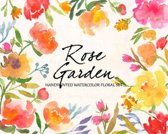 Flowers Hand Painted Watercolor Clipart Clip by SmallHouseBigPony
