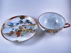 Three Sets China  Vintage1940s Asian Teacups by MissPattisAttic, $17.99