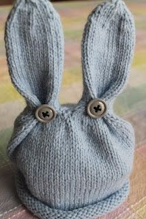 Blue Bunny Easter Knit Hat.