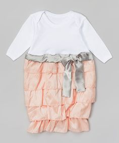 Loving this Caught Ya Lookin' Silver & Coral Ruffle Gown - Infant on #zulily! #zulilyfinds
