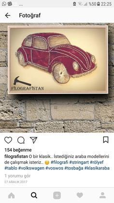 String Art Vintage Car Nail String Art, String Crafts, Crafts To Sell, Diy And Crafts, Arts And Crafts, Arte Linear, Learning To Embroider, String Art Patterns, Art Decor