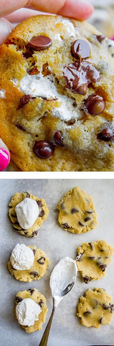 Classic chocolate chip cookies stuffed not with a marshmallow, but with marshmallow creme! It makes the the cookies so soft and chewy on the inside, and there is a perfect crisp on the edges! It took me so long to get these cookies right, I'm in love!