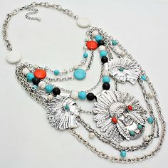 225459 / Vintage Feather Indian Howlite Necklace