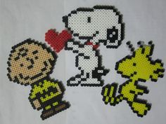 Charlie Brown, Snoopy and Woodstock Perler Beads by Angela Albergo
