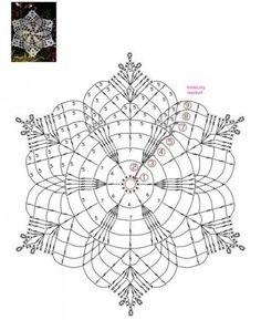 Crochet Snowflake Pattern, Crochet Mandala Pattern, Crochet Snowflakes, Crochet Squares, Crochet Diagram, Crochet Patterns, Crochet Dollies, Crochet Angels, Crochet Tablecloth