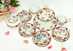 Collectible Vintage Bone China Tea Set with lovely fuchsia Pink border & scrolls by FlyingSquirrelNest on Etsy China Tea Sets, Vintage Tea, Beautiful Patterns, Bone China, Unique Jewelry, Handmade Gifts, Pink, Etsy, Kid Craft Gifts