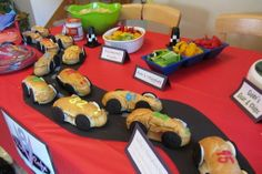 """Cars"" food table - Cars Sandwiches (pretzel axles and Oreo wheels), Stoplight veggies fruits, Mater's Taters, and more (Link has pics and complete menu) Festa Nascar, Nascar Party, Race Car Party, Train Party, Festa Hot Wheels, Hot Wheels Party, Hot Wheels Birthday, Race Car Birthday, 2nd Birthday"