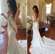 Sexy Sweetheart Satin Mermaid Wedding Dresses White Ivory Bridal Gowns Custom