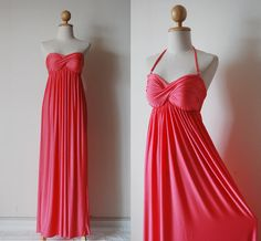 Gorgeous Coral Evening Dress by pinksandcloset on Etsy, $55.00