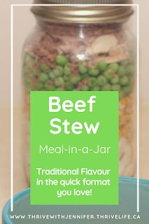 Beef Stew Meal-In-A-Jar These homey recipe is perfect for cold winter nights. My family loves the traditional taste, I love how easy it is to make! Dried Potatoes, Traditional Taste, Fast Easy Meals, Meals In A Jar, Freezer Meals, Stew, Thrive Life, Stuffed Peppers