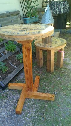 Tables from old electrical wire spools