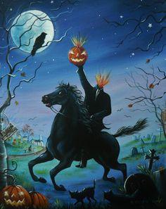 OOAK ORIGINAL HALLOWEEN HEADLESS HORSEMAN SLEEPY HOLLOW  CAT RAVEN  PAINTING #Realism