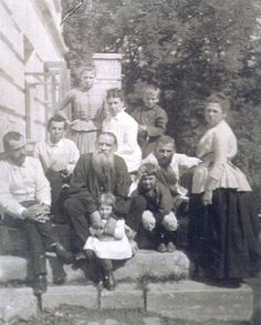 Tolstoy with his wife and family, 1887