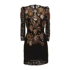 Dolce & Gabbana Sacred Heart Embellished Lace Shift Dress ($25,000) ❤ liked on Polyvore