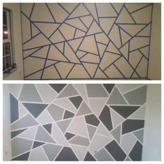 Geometric accent wall Geometric accent wall The post Geometric accent wall & Wandgestaltung ideen appeared first on Geometric paint . Accent Walls In Living Room, Accent Wall Bedroom, Geometric Wall Paint, Geometric Art, Wall Paint Patterns, Room Wall Painting, Tape Painting, Bedroom Wall Designs, Paint Designs