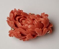 RARE ANTIQUE CARVED CORAL BROOCH Hand Cut Floral Pendant / Pin on 14k Gold Back | eBay