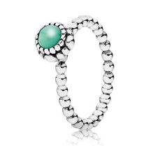Pandora Silver & Chrysoprase May Birthstone Ring 190854CH - £40.00