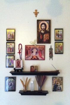 Our new set up for our icon corner, minus three icons that are in church being blessed.