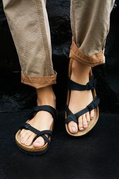 Mayari Birkenstock   Strappy Birkenstocks with a classic molded footbed and Birko-Flor uppers Birko-Flor is a signature leather-like material lined in soft felt, for an immediate broken in, comfortable fit. Crisscross straps form a toe loop, with a third strap over the instep adjustable with buckle detailing.    Sizing Tip: This style runs true to size. If between sizes size up.