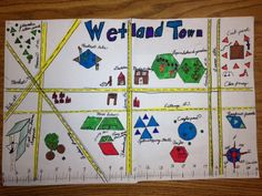 Students create a fun themed Geometry Town using parallel and perpendicular lined streets,  quadrilaterals and polygons.  They include a scale, a compass rose, and 3 sets of directions from one location to another.