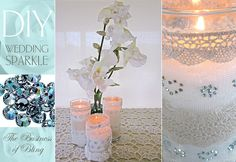 DIY Wedding Sparkle with Artistic Crystals: Candle Wraps in Lace & Crystals | Sew4Home