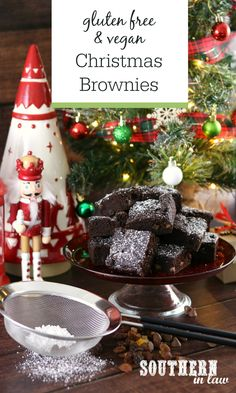 These Gluten Free Christmas Brownies are the perfect Christmas treat! Rich and fudgy, they contain Christmas fruits and spices as well as gooey chocolate chips for a dessert that's inspired by Christmas pudding and traditional fruit cake. Christmas Brownies, Christmas Food Treats, Vegan Christmas, Christmas Pudding, Holiday Treats, Christmas Time, Healthy Cake, Healthy Sweets, Healthy Snacks