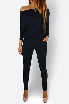 Black Round Neck Elastic Waist Jumpsuits