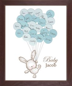 Baby Bunny Guest Book Print - Boy