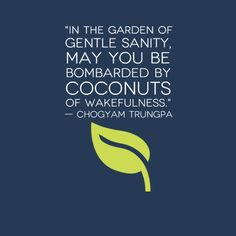 In the garden of gentle sanity, may you be bombarded by coconuts of wakefulness.  - Chogyam Trungpa